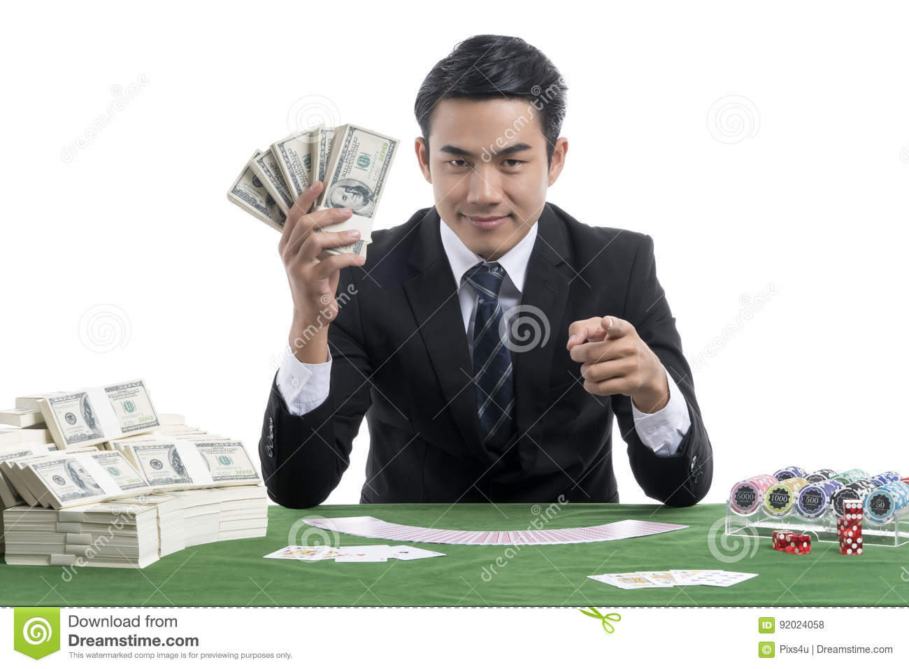 The young man acting challenge gambler