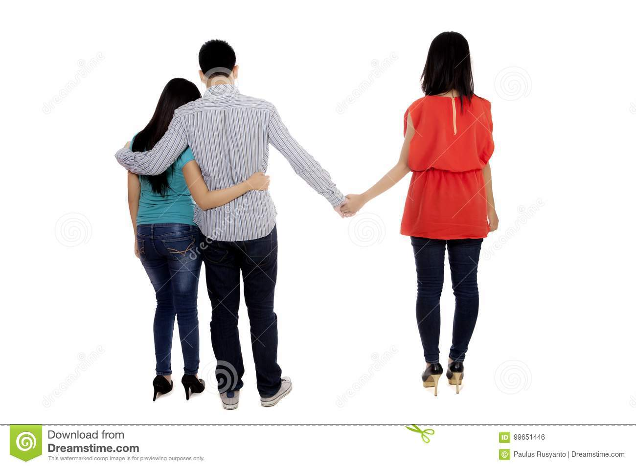 Young Man With Another Woman On Studio Stock Photo - Image