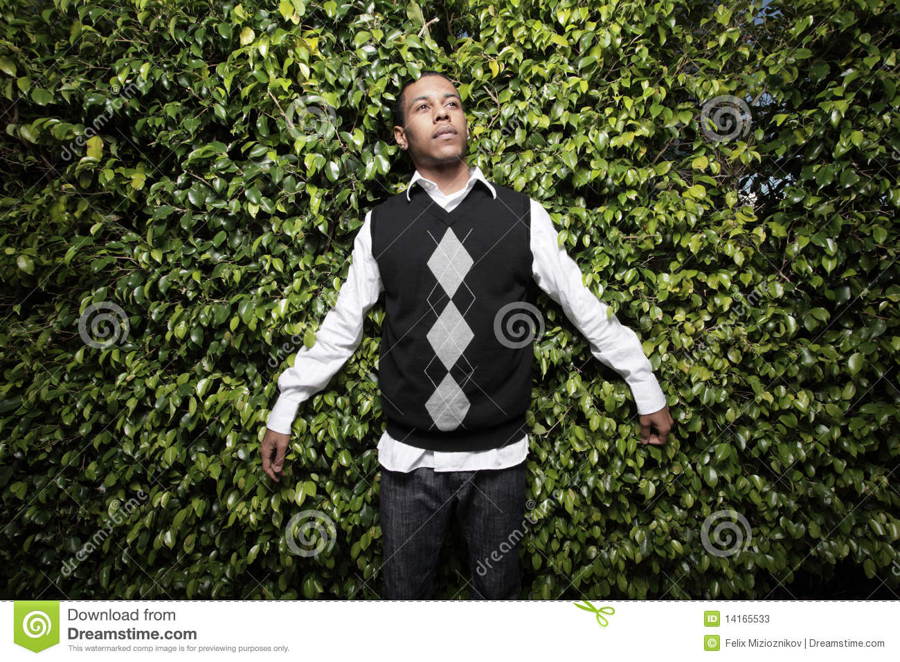 Young Man In An Argyle Sweater Stock Image