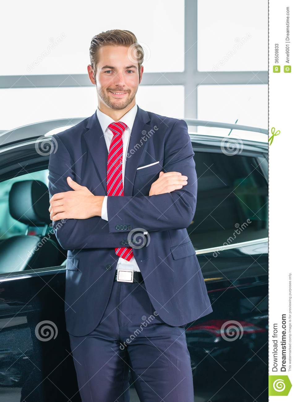 Young Man Or Auto Dealer In Car Dealership Stock Image Image Of