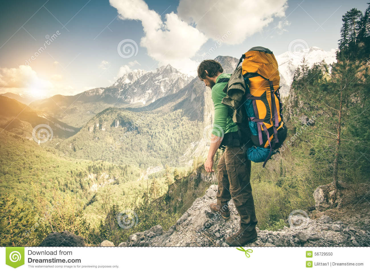 Young Man With Backpack Relaxing Outdoor Travel Stock Photo ...