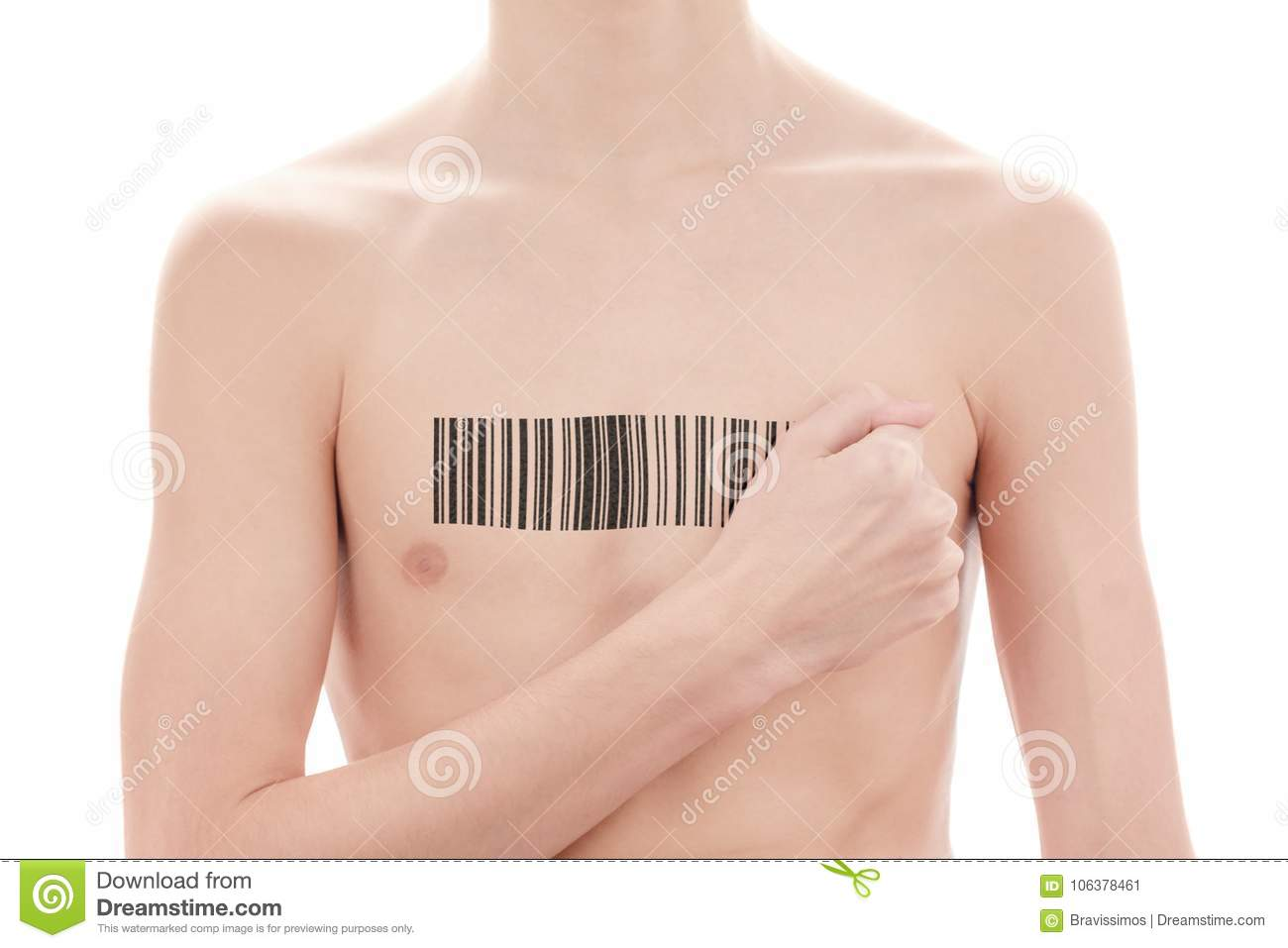 Young man with a bar code of genetic researches. Clone of DNA and human genome. Artificial intelligence.