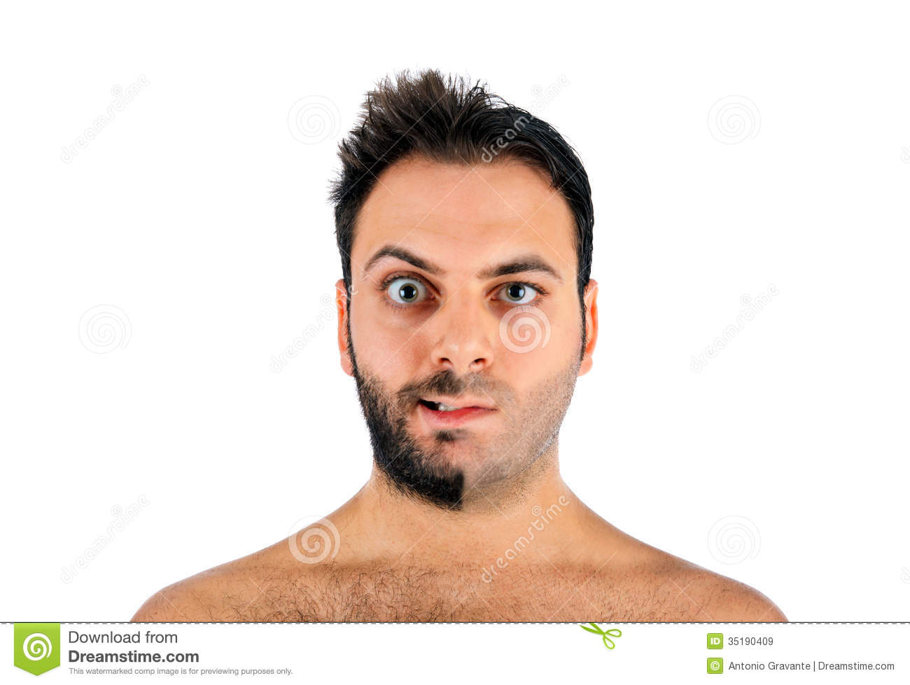 Magnificent A Young Man With A Beard On Half Of The Face Royalty Free Stock Short Hairstyles Gunalazisus