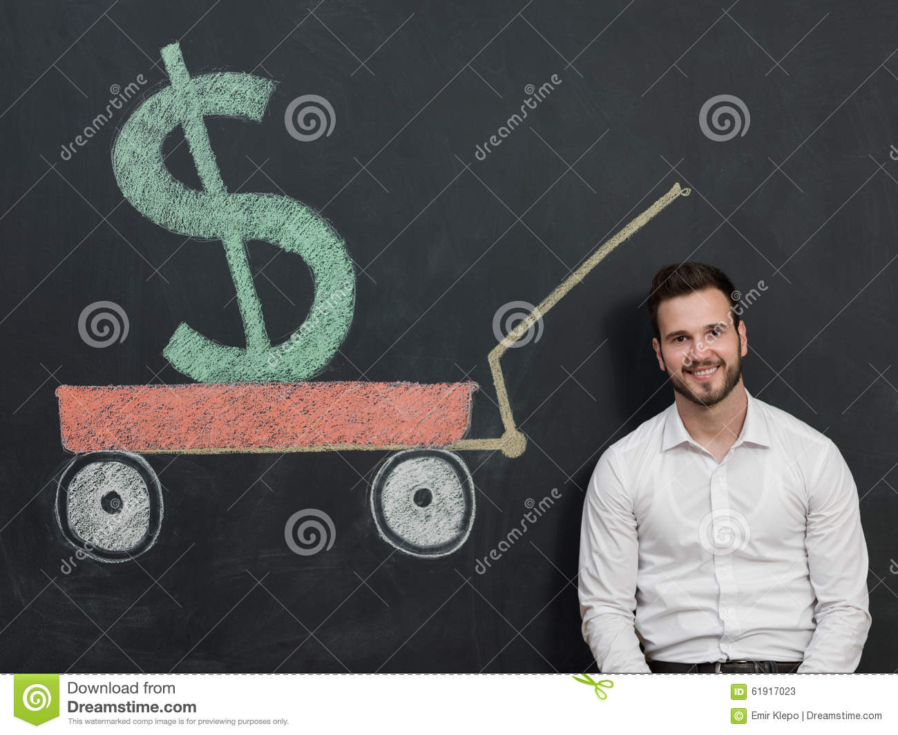 Young man with beard saving money