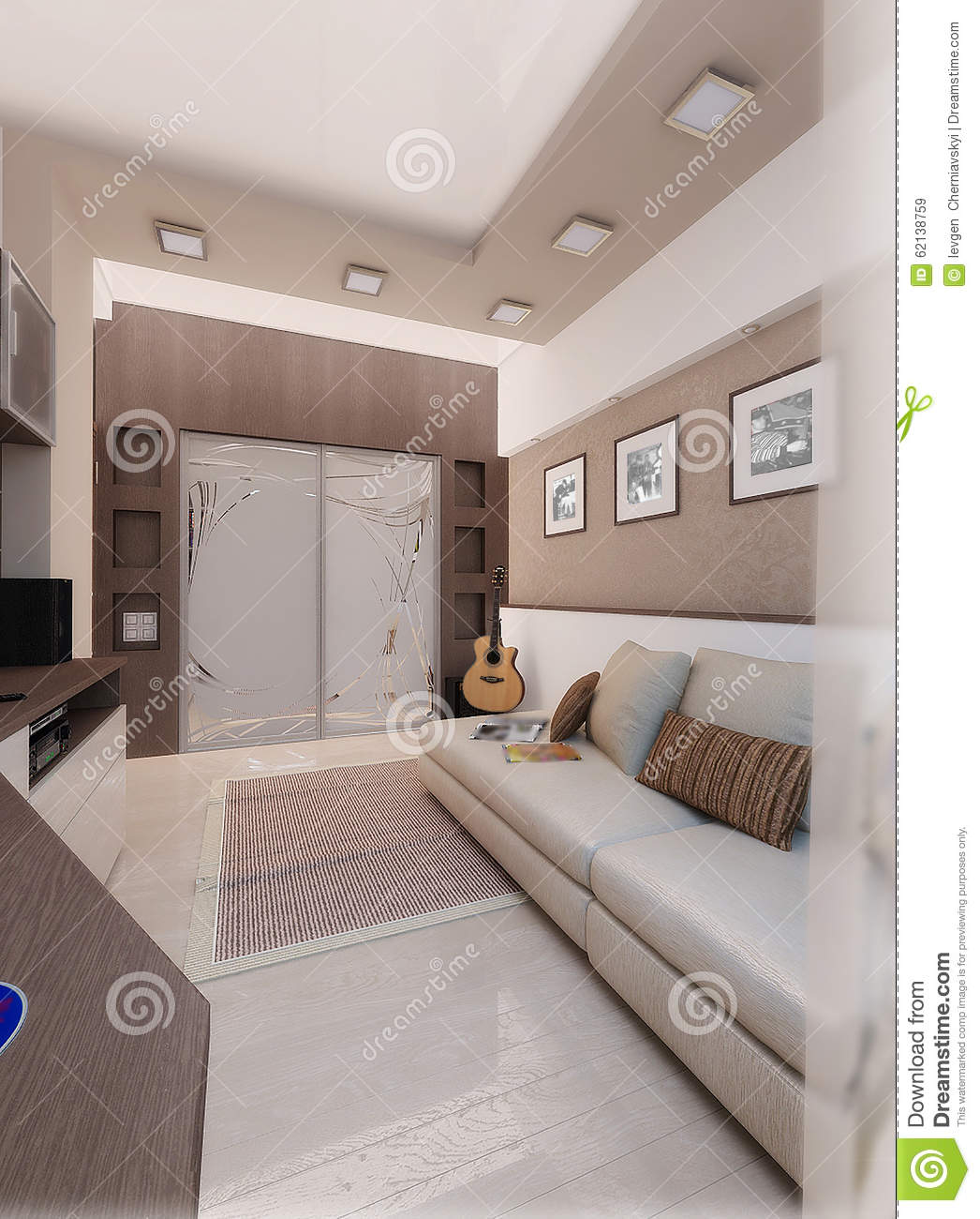 Young man bedroom interior design render 3d stock for Chambre a coucher homme