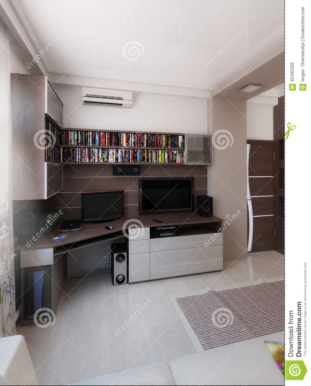 Young Man Bedroom, Interior Design, Render 3D Stock Illustration ...