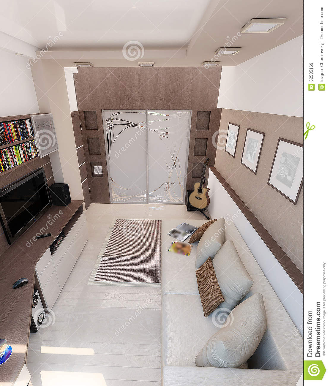 Young man bedroom interior design render 3d stock photo for Bedroom ideas young man