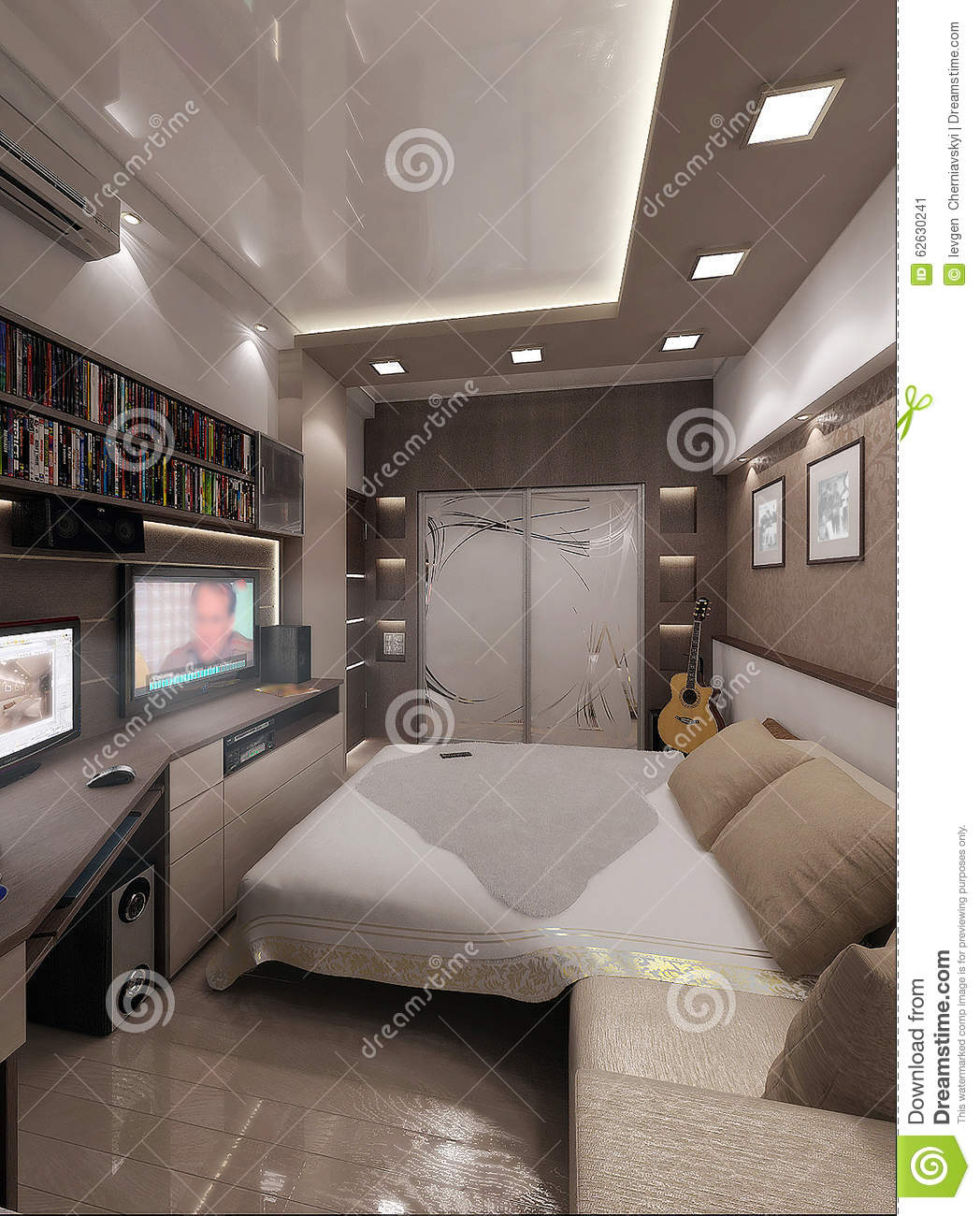 Young man bedroom interior design render 3d stock illustration image 62630241 - Young man bedroom ideas ...