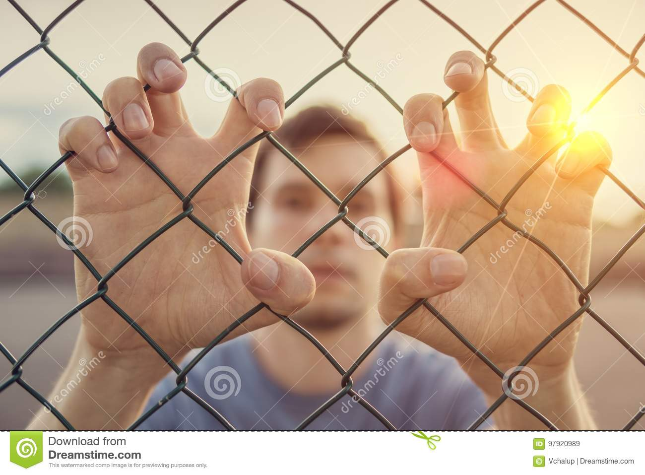 Young man behind wired fence. Immigration concept