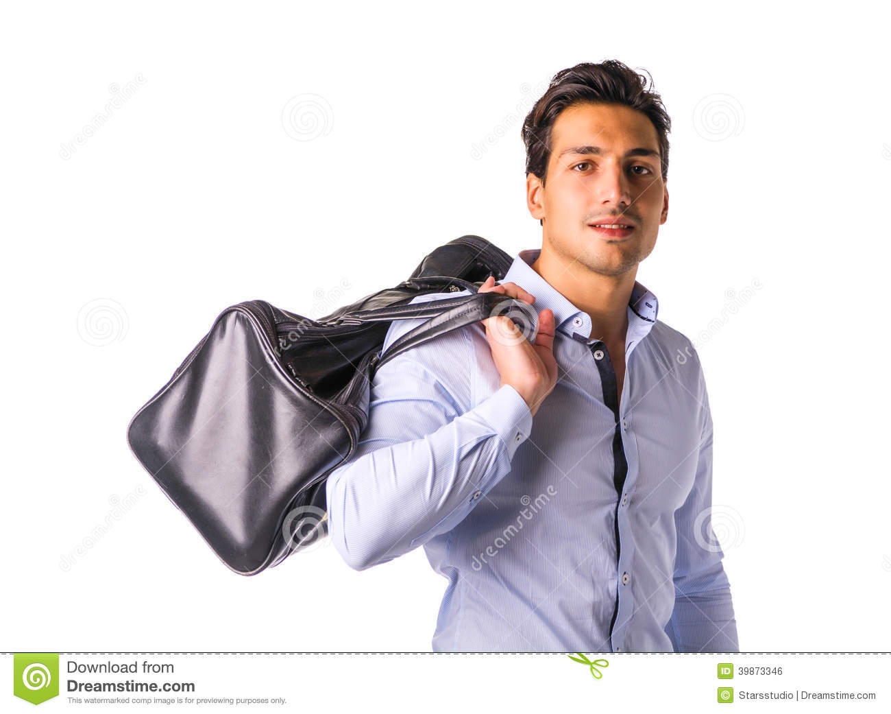 Young Man With Big Leather Bag Over Shoulder Stock Photo - Image ...