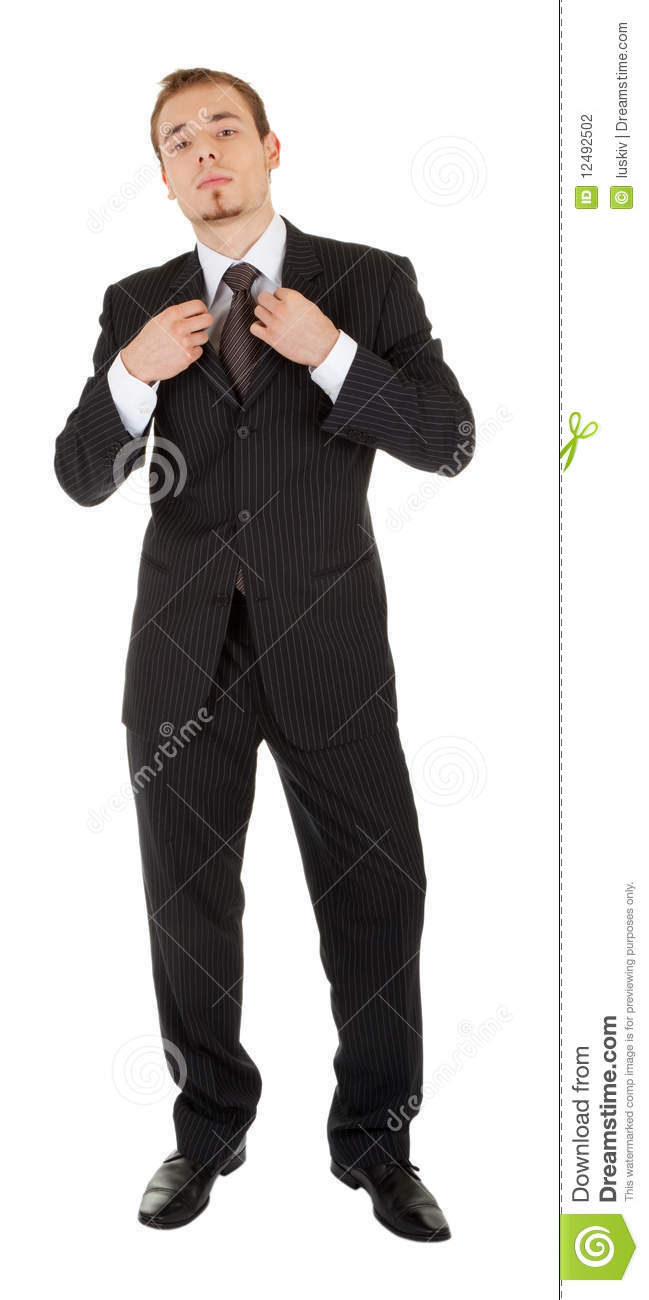 Young Man In A Black Business Suit Stock Photography ...