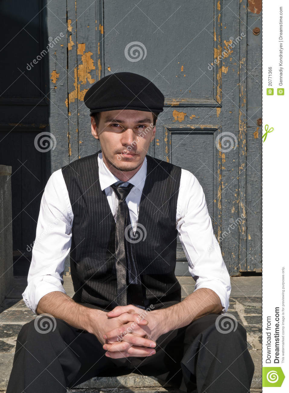 Young Man In Black Cap In Vintage Style Royalty Free Stock