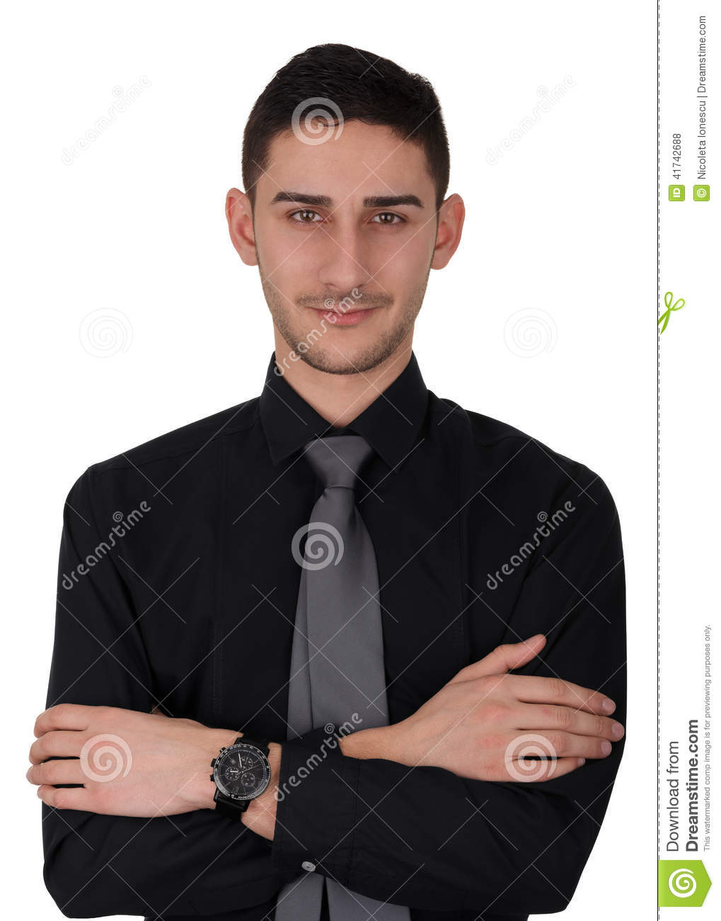 Young man in black shirt and tie stock photo image 41742688 for Black shirt black tie