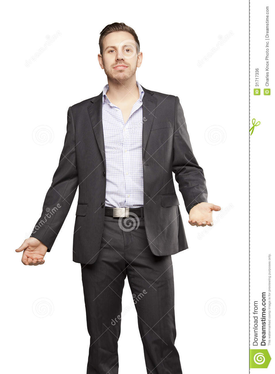 Young Man In Black Suit Gesturing Royalty Free Stock Image ...