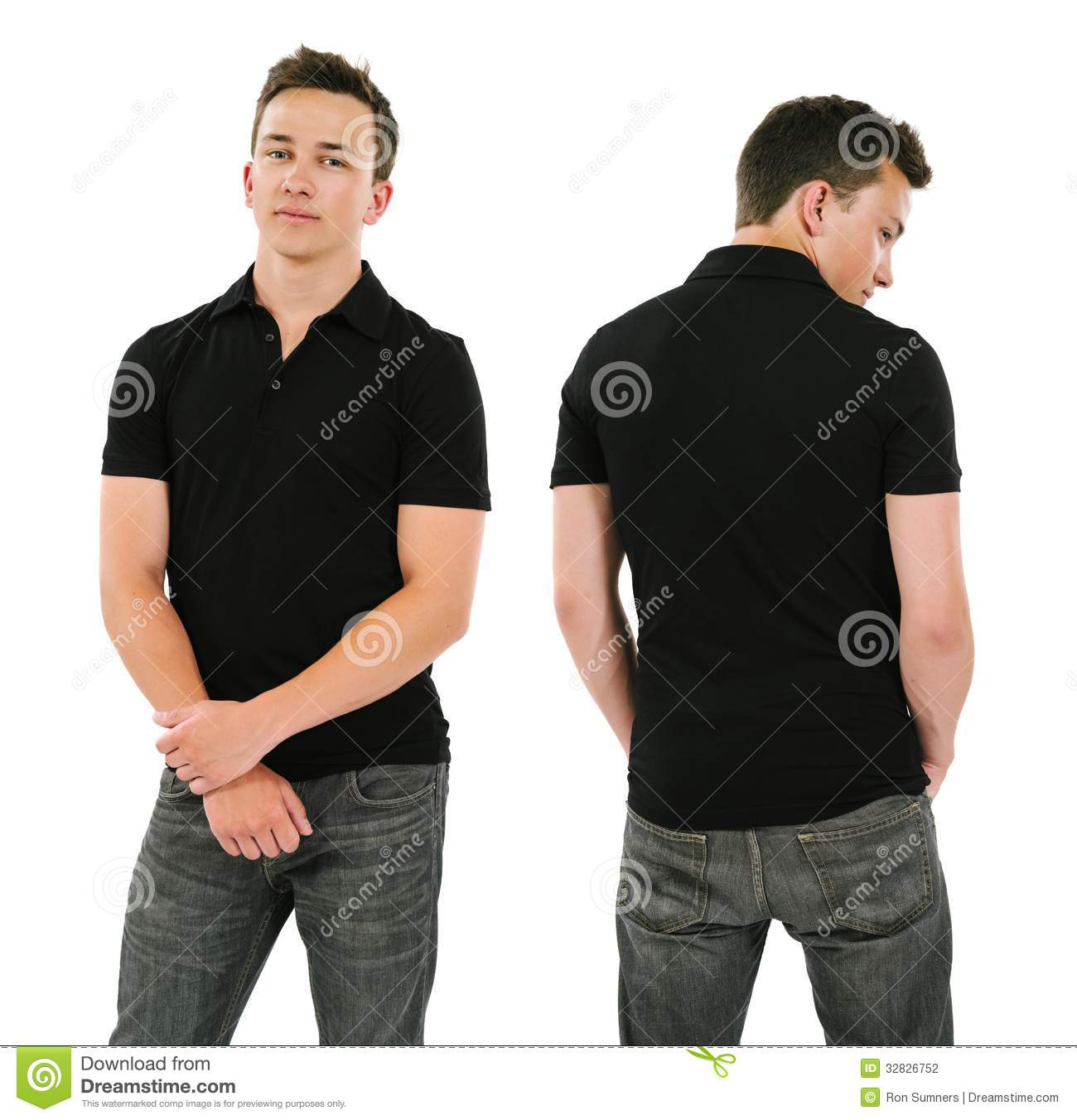 Young Man With Blank Black Polo Shirt Stock Photography ...