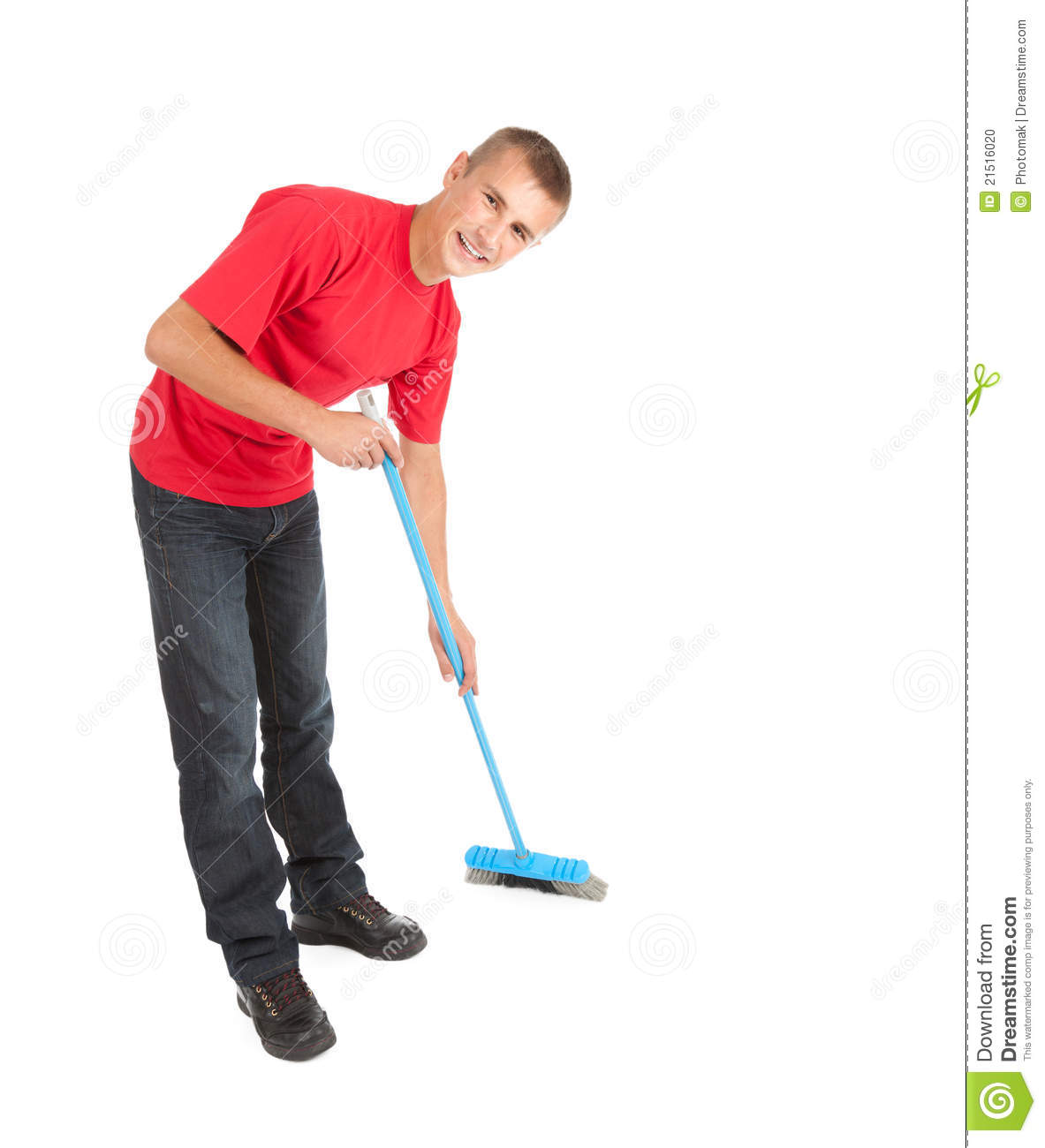 Young Man With Blue Sweep Brush Stock Photo Image 21516020