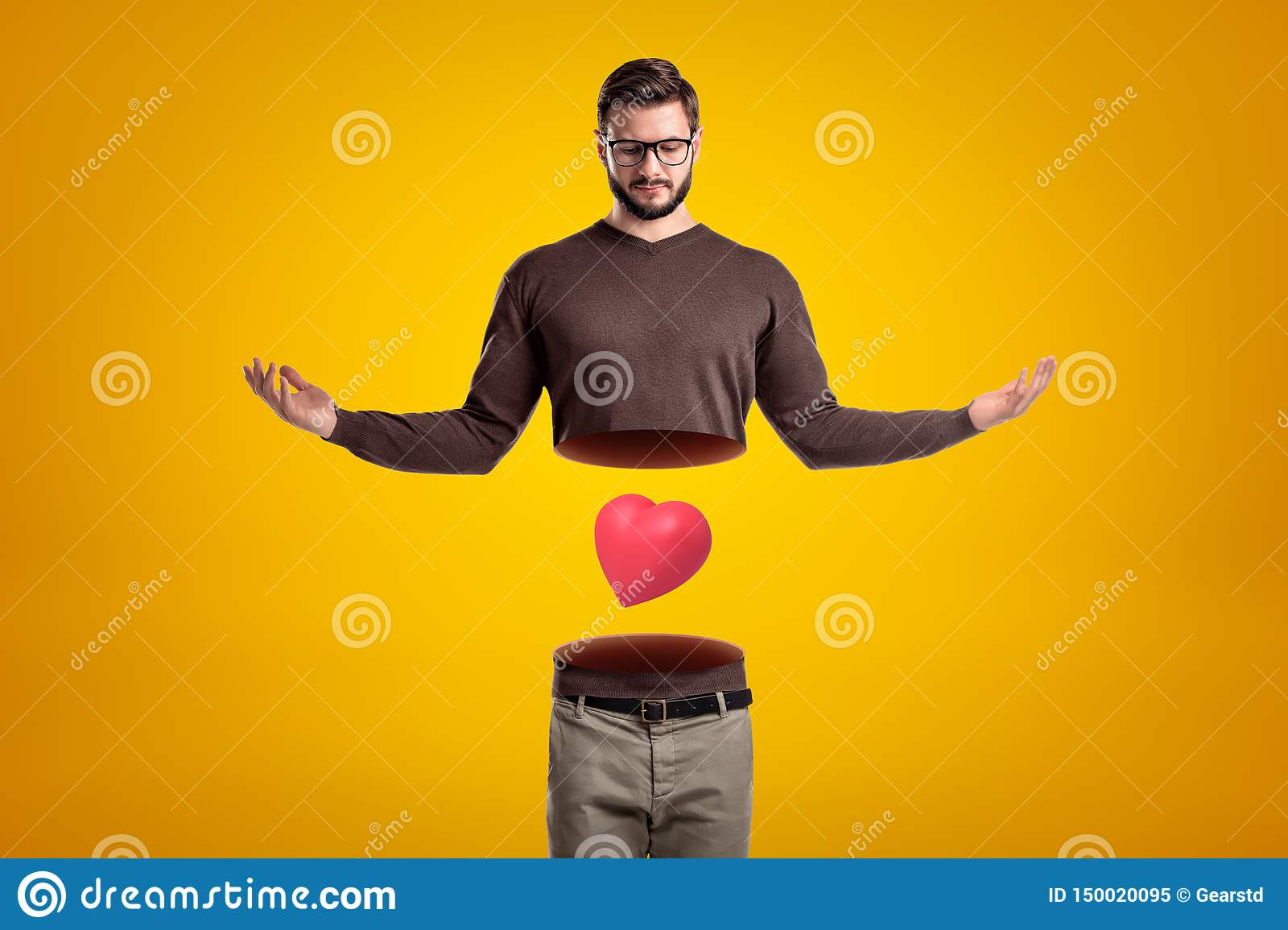 Young man with body cut in two at waist, upper body in air, with cute red valentine heart levitating between upper and