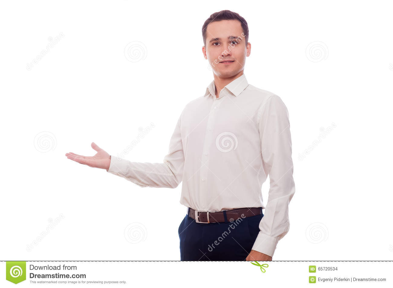 Technology Management Image: Business Man Holding Something On His Hand Stock