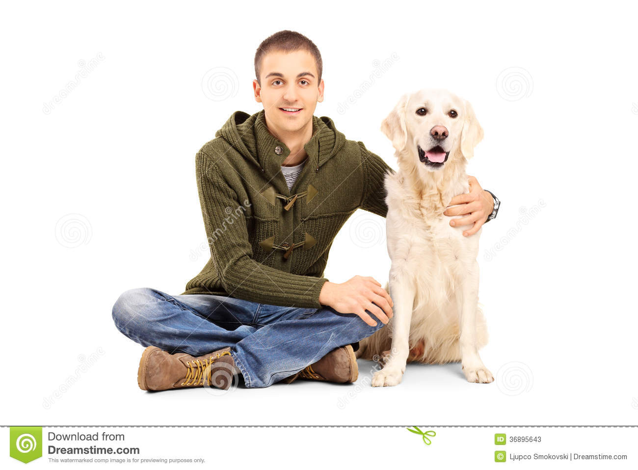 Man On Dog : Young man in casual clothes sitting on floor with his