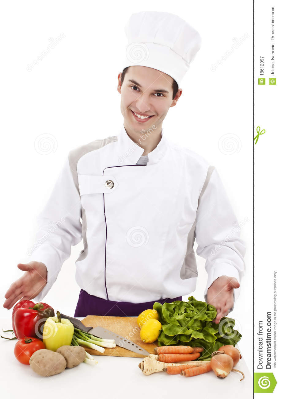 Young man chef fresh vegetables royalty free stock for Fresh chef kitchen