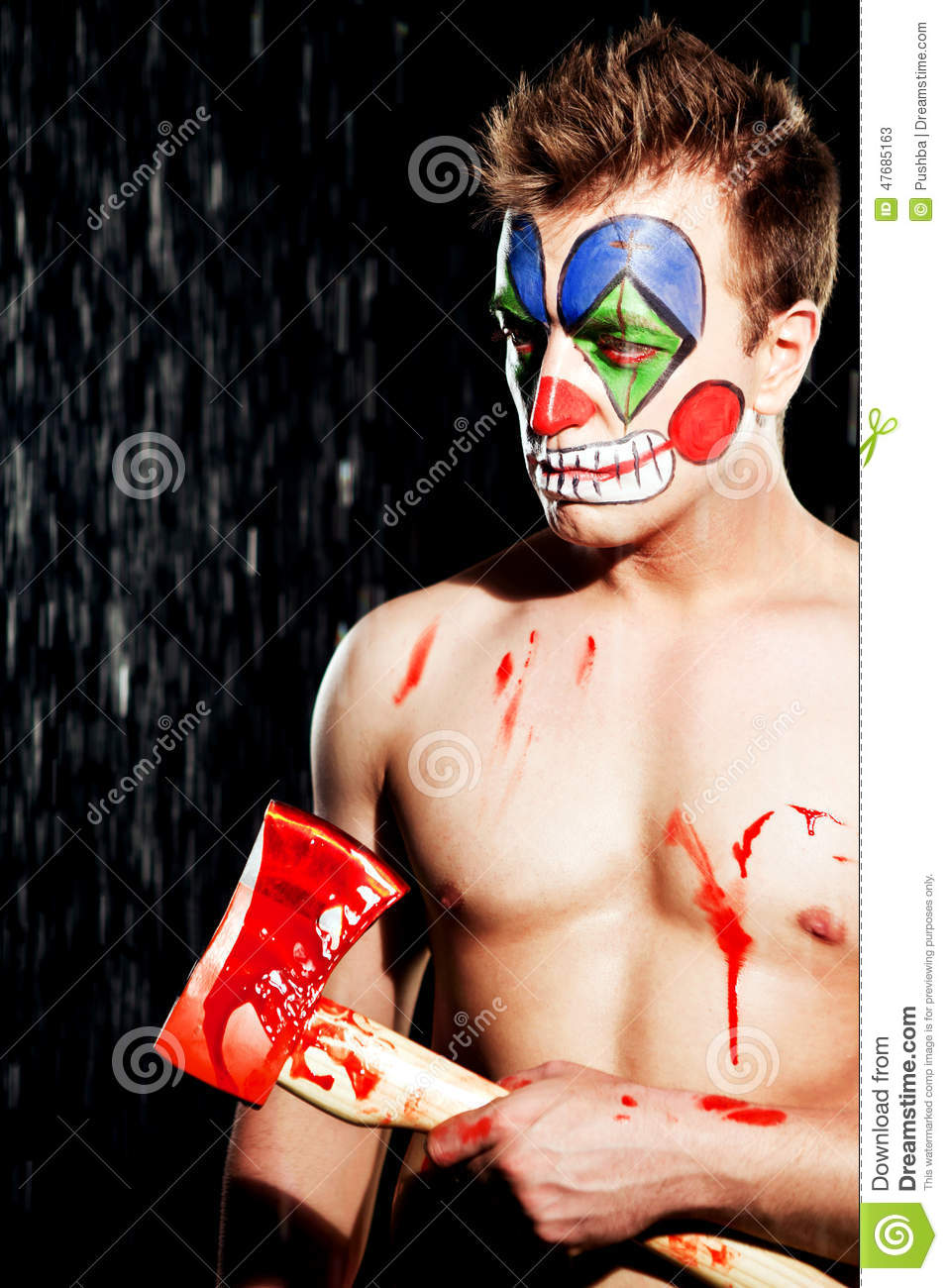 Young man in clown makeup stock image. Image of clown