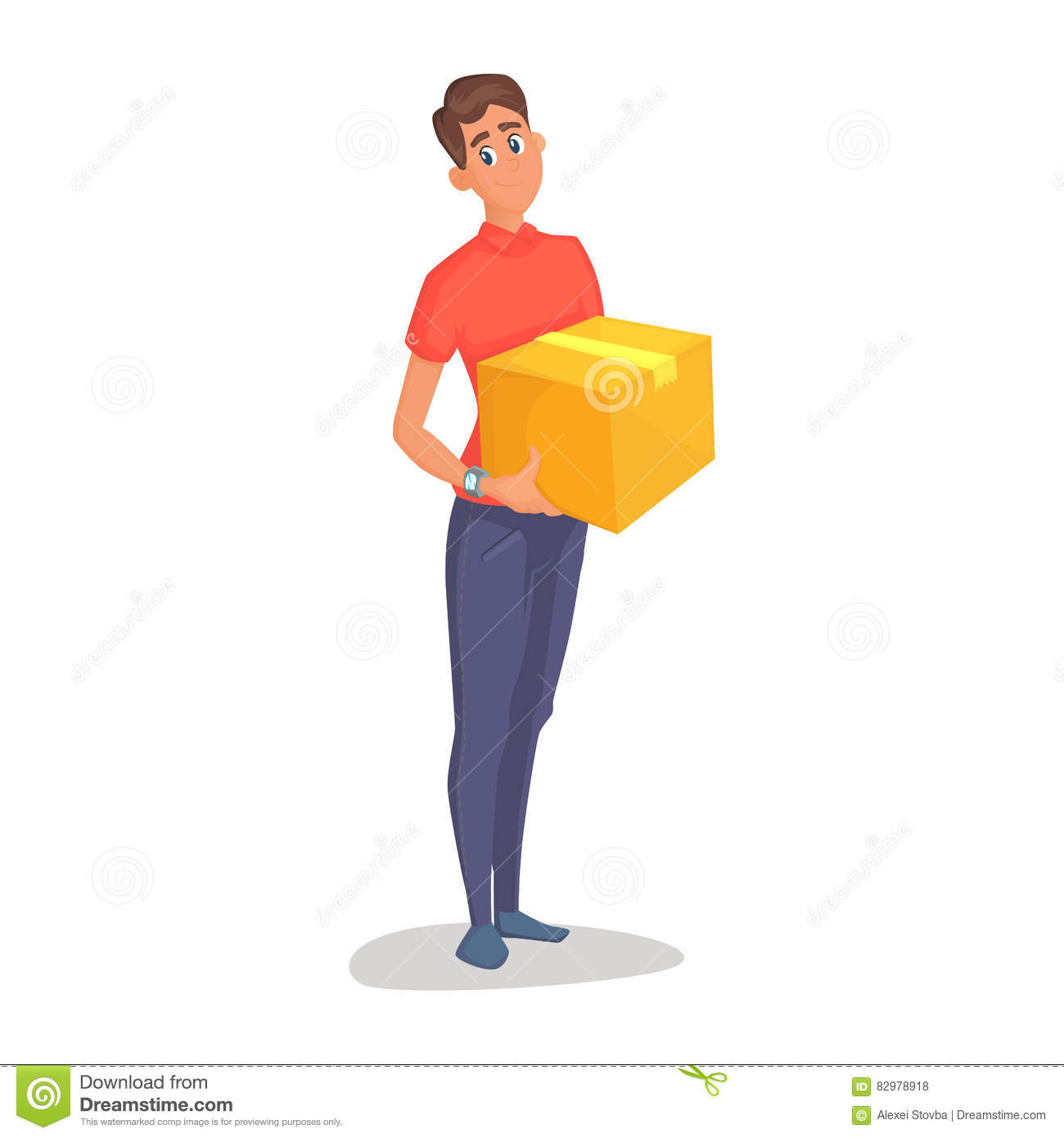 Young man courier delivery services of holding a large box and the plate with a shuttle sheet isolated on white