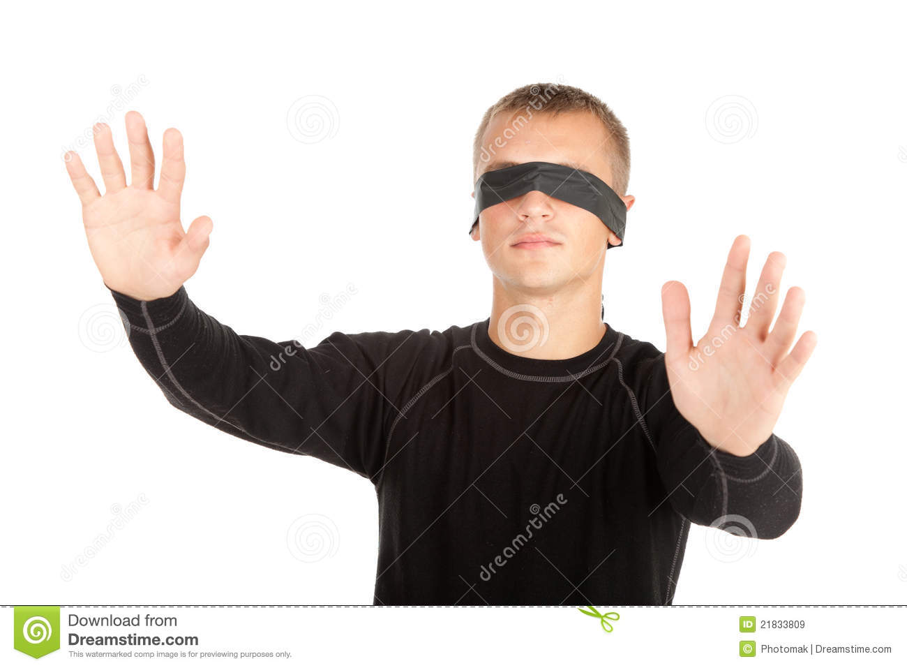 Young Man With Covered Eyes Stock Image Image Of Shot