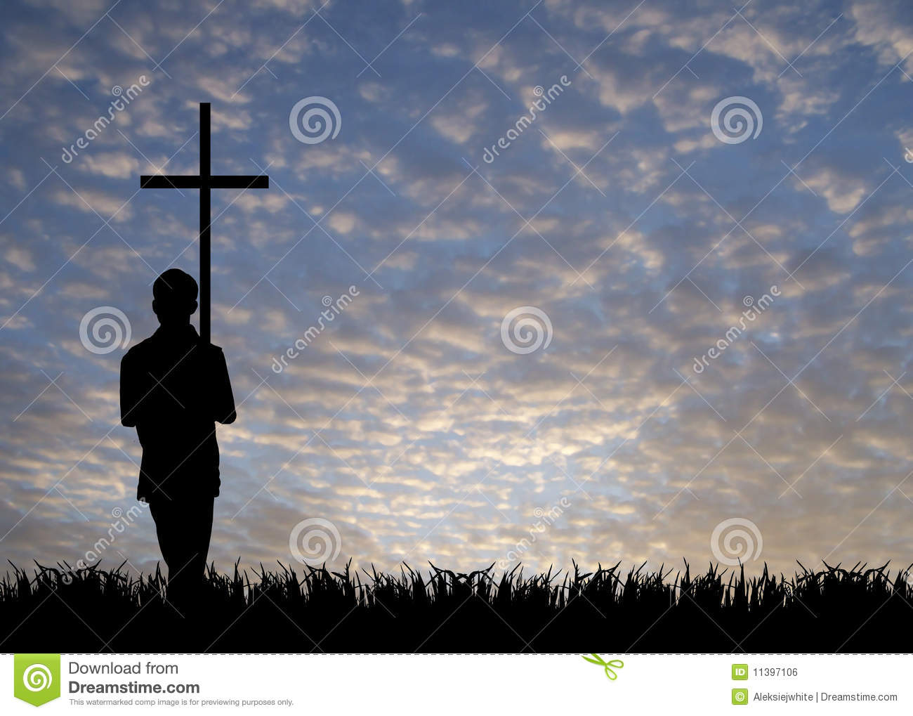 Young man with cross