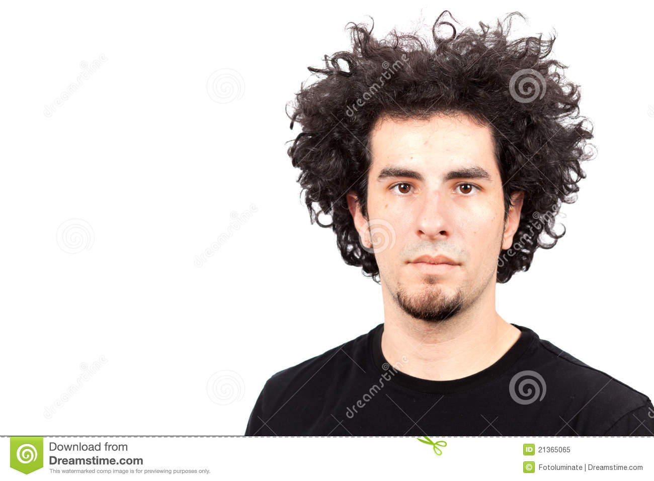 Young Man With Curly Hair Royalty Free Stock Photo Image 21365065