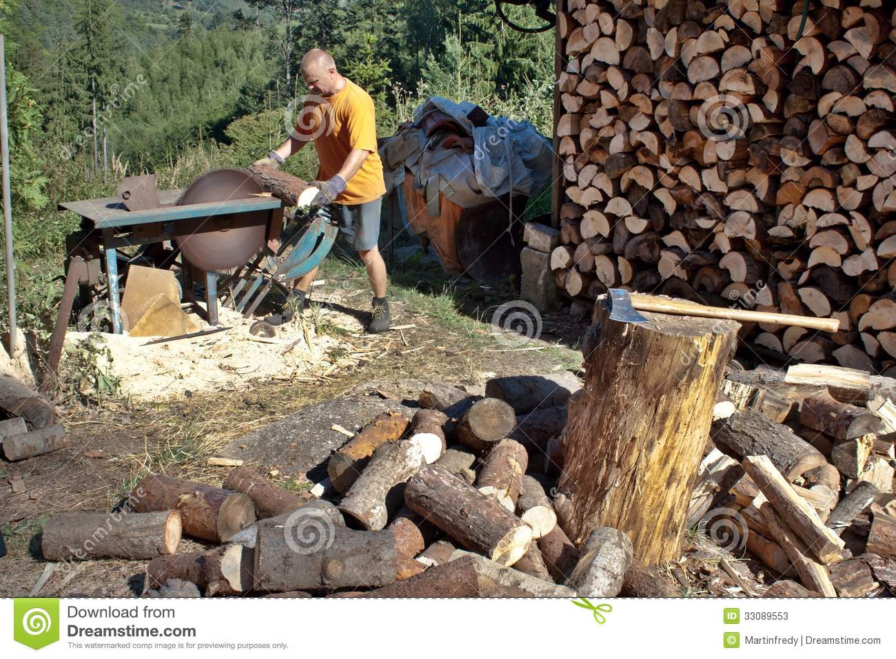 Young Man Cutting Firewood, Preparing For Winter Stock ...