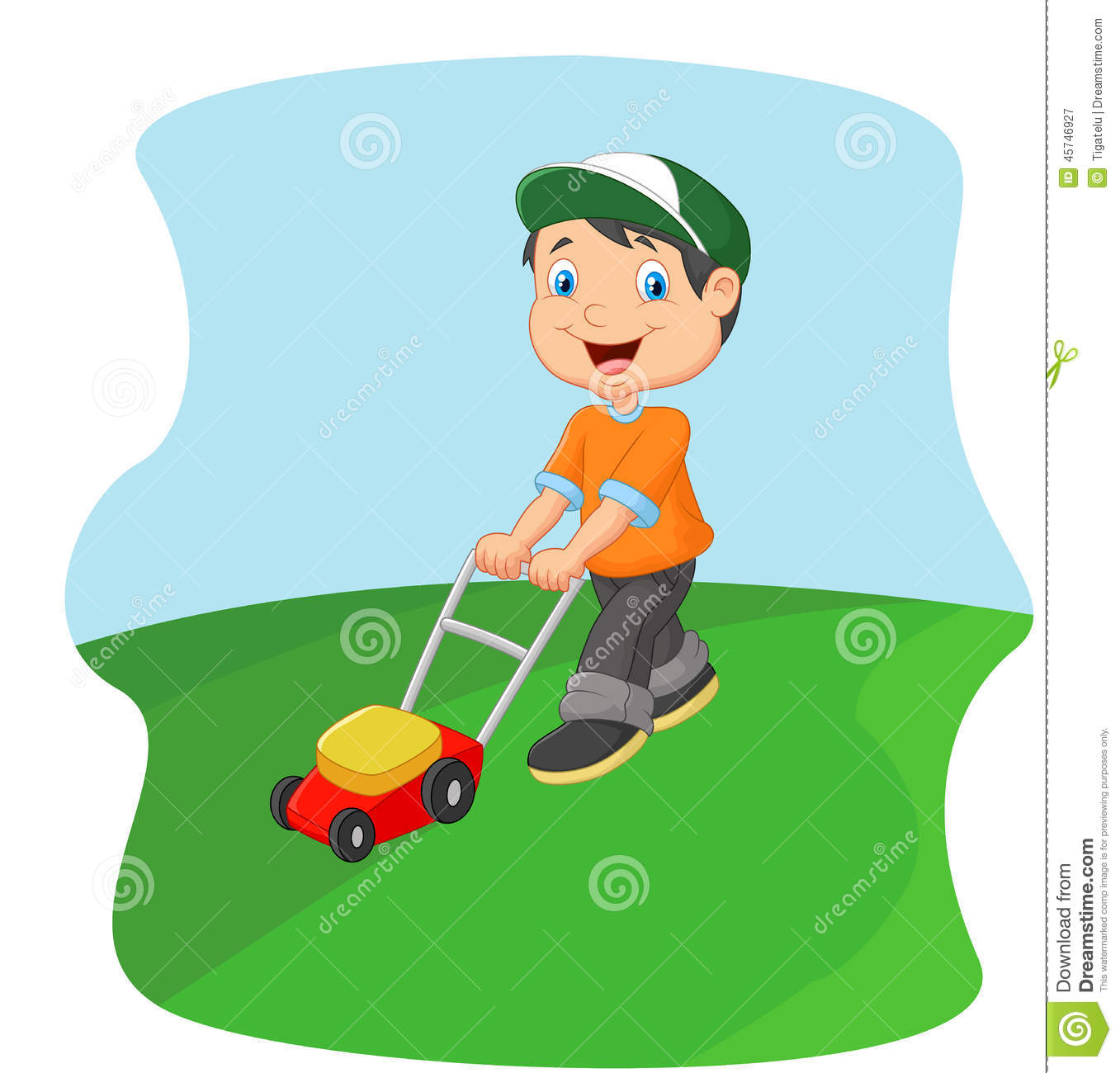 young man cutting grass with a push lawn mower stock