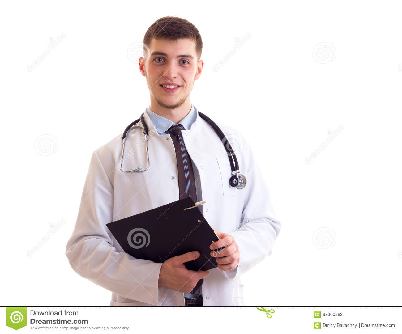 Young man in doctor gown stock image. Image of profession - 93300563