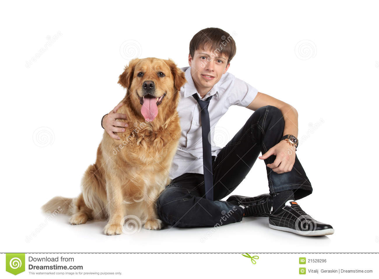 Man On Dog : A young man with dog sitting on floor royalty free stock