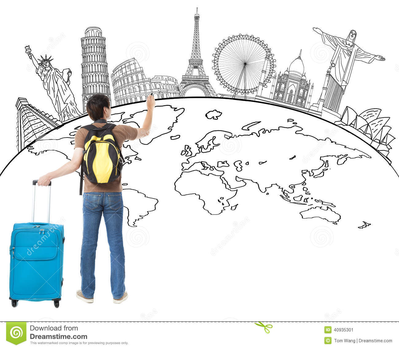 Young man drawing global map and famous landmark stock image image young man drawing global map and famous landmark gumiabroncs Choice Image
