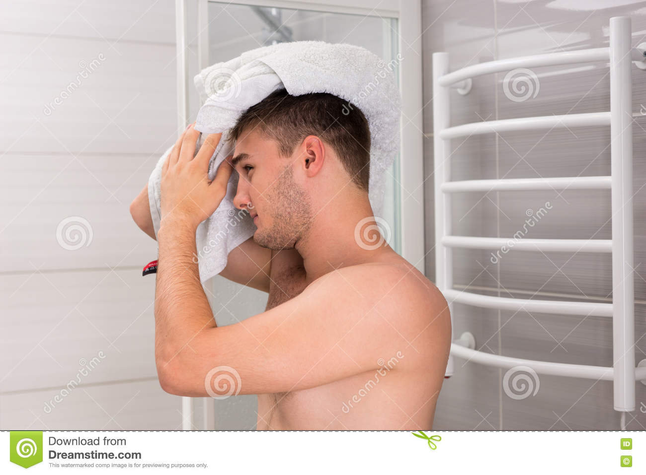 Portrait of shirtless man washing face in bathroom royalty for Bathroom cleaning procedure