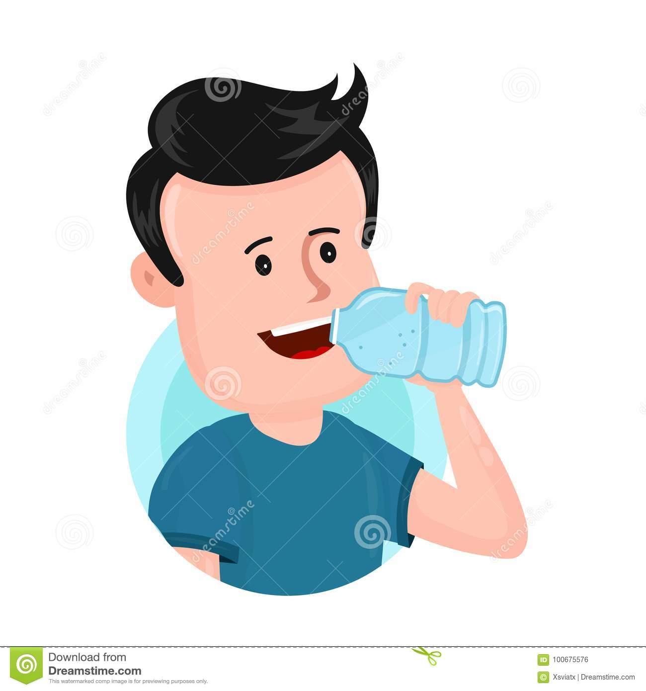 Young Man Drink Water From Plastic Bottle. Stock Vector ...