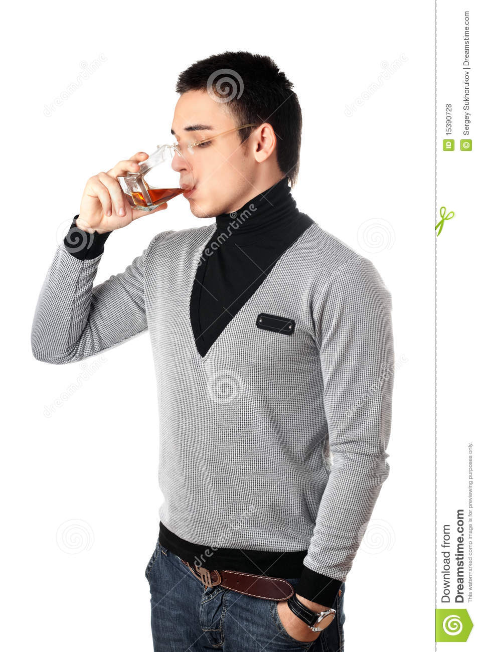 Royalty Free Stock Photos: Young man drinking whiskey