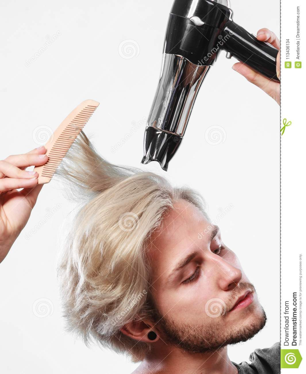 Young Man Drying Hair With Hairdryer Stock Photo Image Of Hair