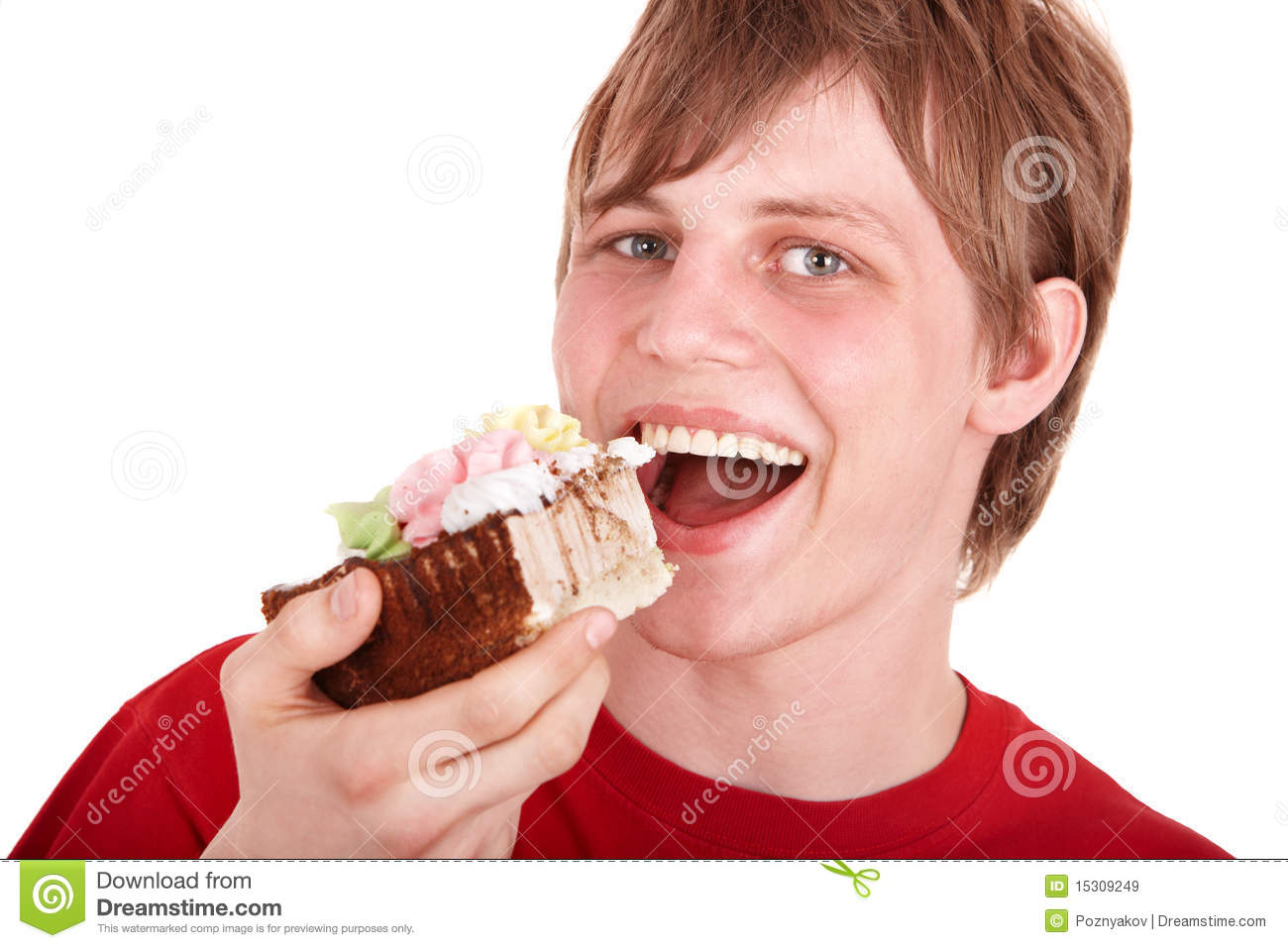 Young Man Eating Chocolate Cake. Royalty Free Stock Images ...
