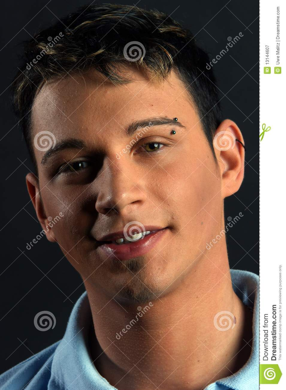 Young Man With Eyebrow Piercing Stock Image Image Of Sympathy
