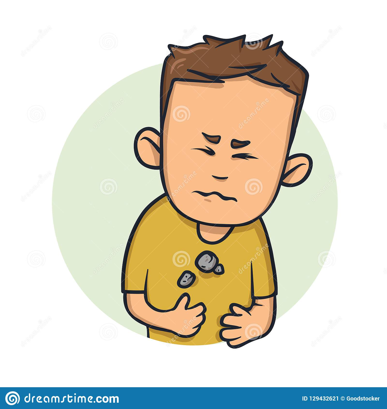 Young man feeling heavy in his chest. Difficulty to breathe. Cartoon design icon. Flat vector illustration. Isolated on