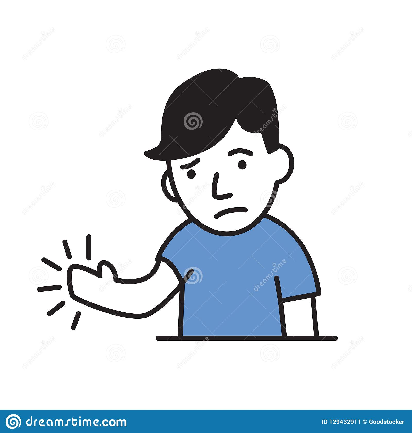 Young man feeling pain or numbness in his hand. Simple style icon. Flat vector illustration. Isolated on white