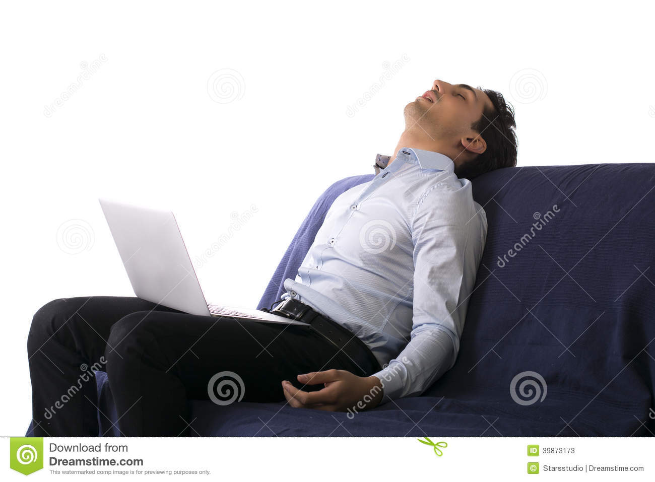 Phenomenal Young Man Fell Asleep On Couch White Working On Laptop Unemploymentrelief Wooden Chair Designs For Living Room Unemploymentrelieforg
