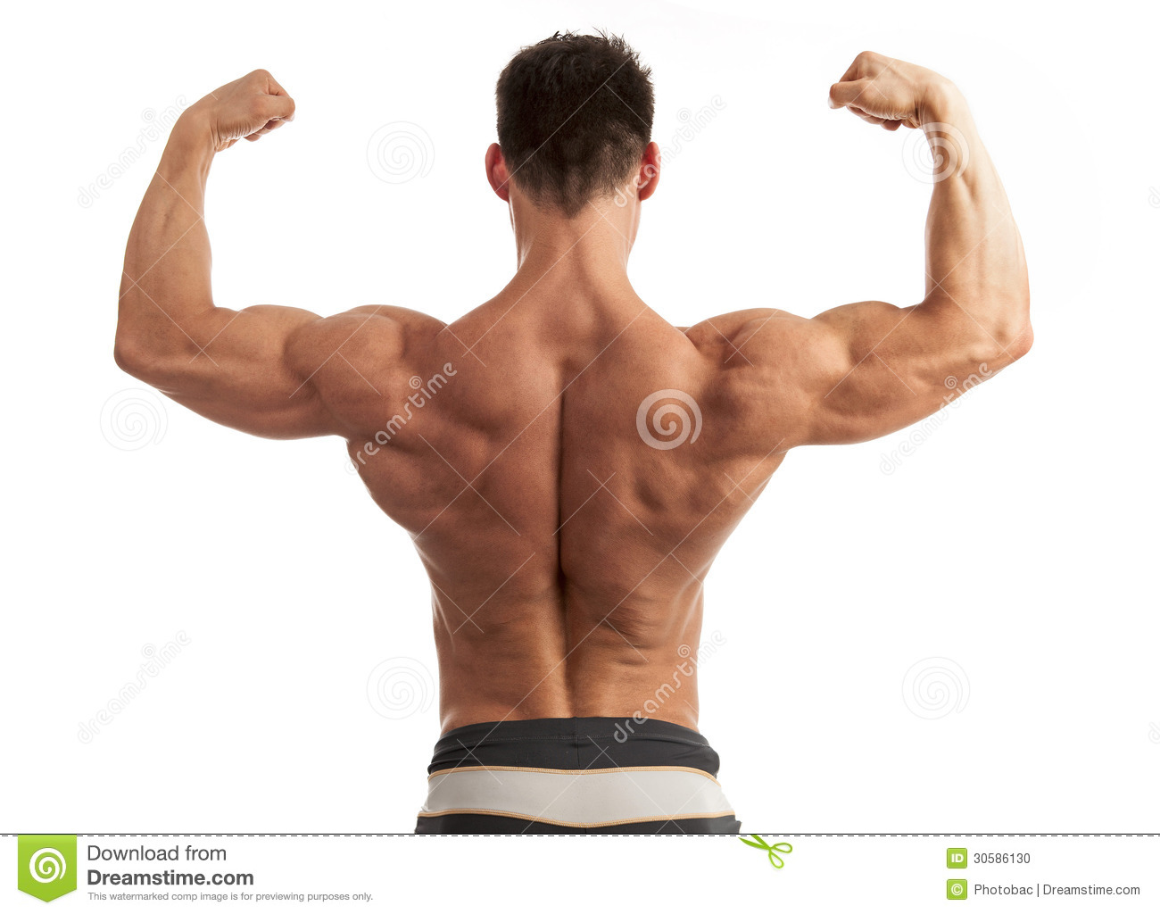 Rear view of a young man flexing his arm and back muscles over white ...