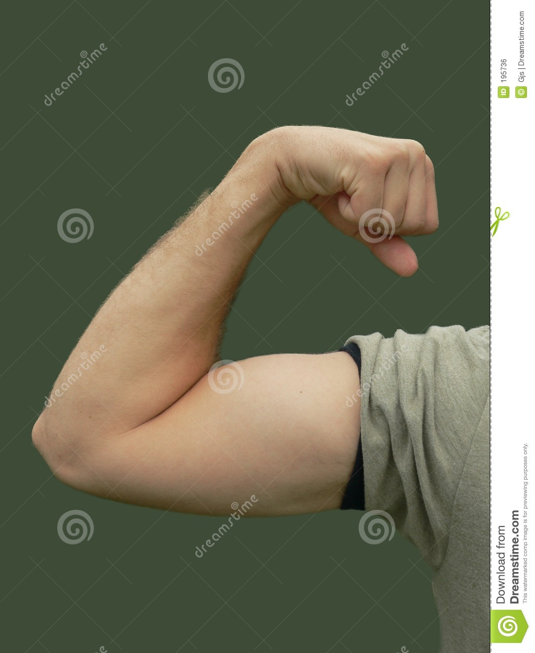 Young man flexing bicep muscle, isolated on solid background.