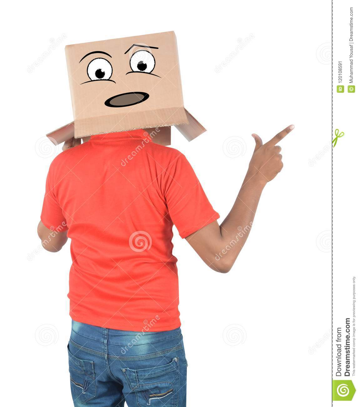 Young man gesturing with a cardboard box on his head with sad fa