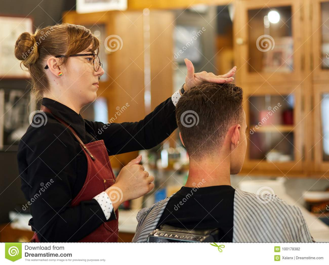 Young Man Getting A Haircut Stock Photo Image Of Head Barbershop