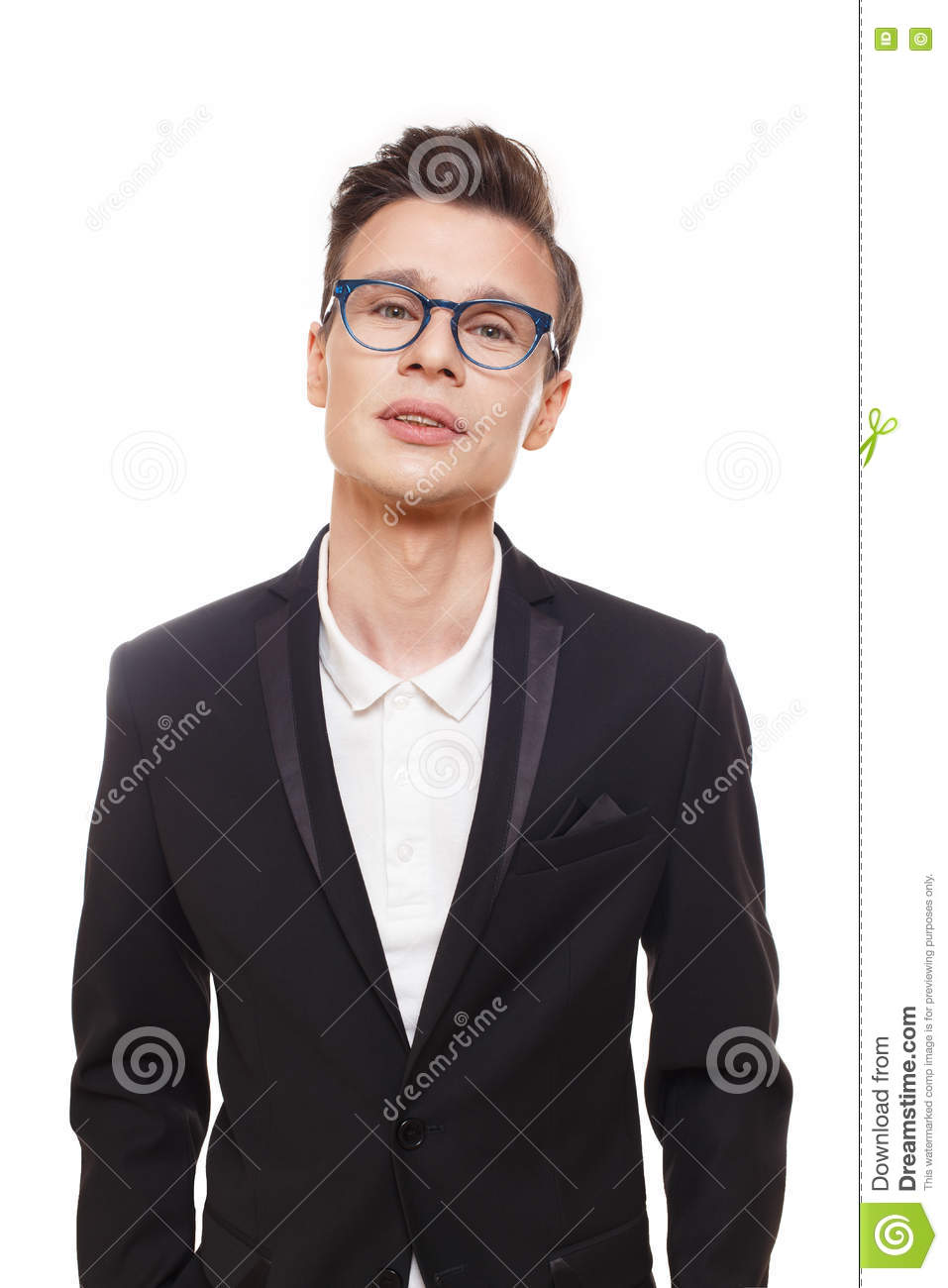 Young stylish man isolated at white. Portrait of confident guy looking at  camera. Boy style, trendy male person in eyeglasses and black suit. b722461eb3ac