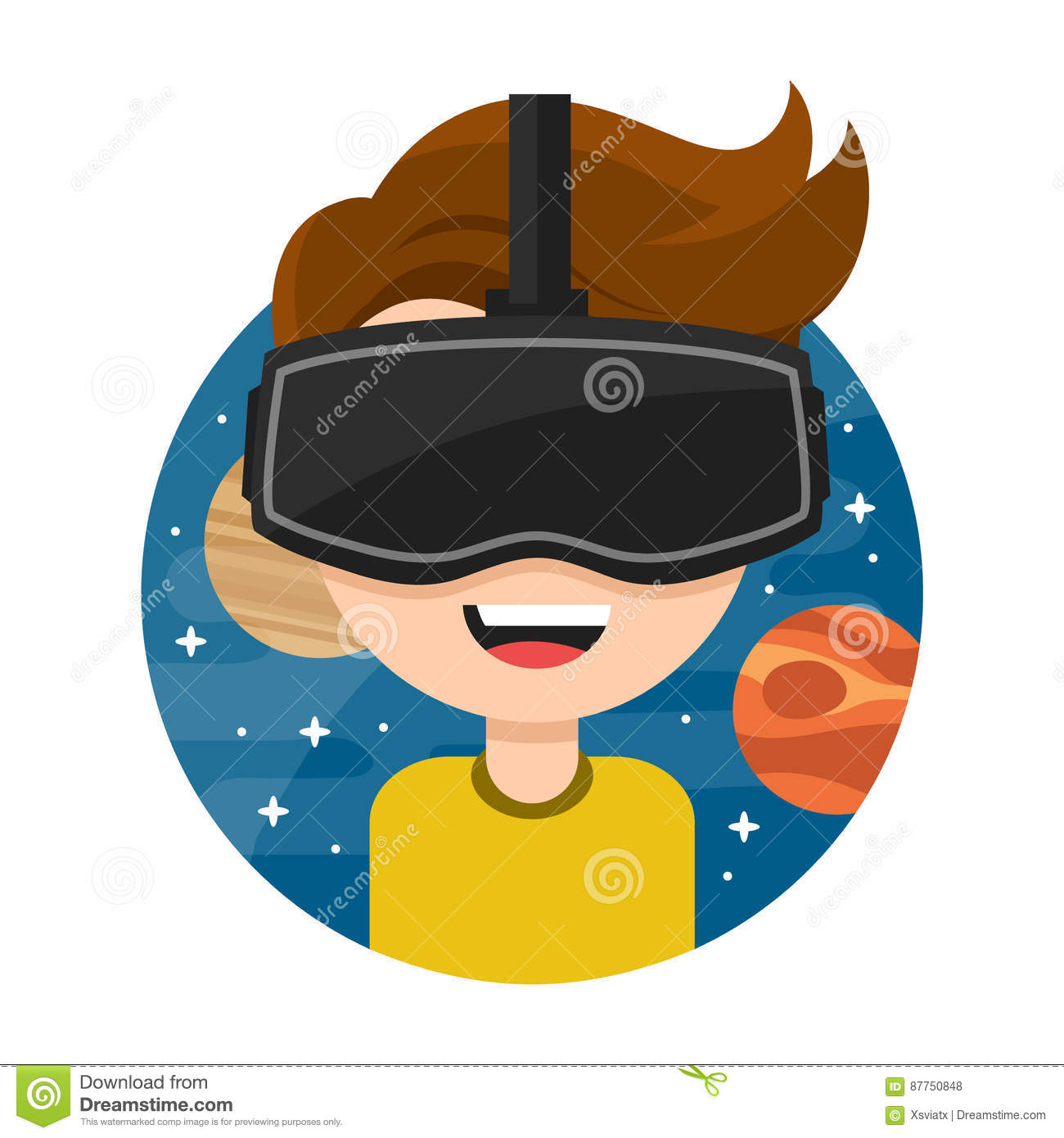 Young Man With Glasses Of Virtual Reality Flat Vector