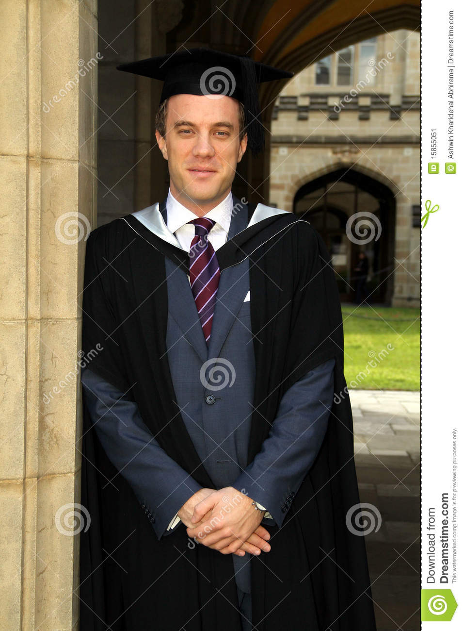 A Young Man In A Graduation Gown Stock Image Image Of Masters